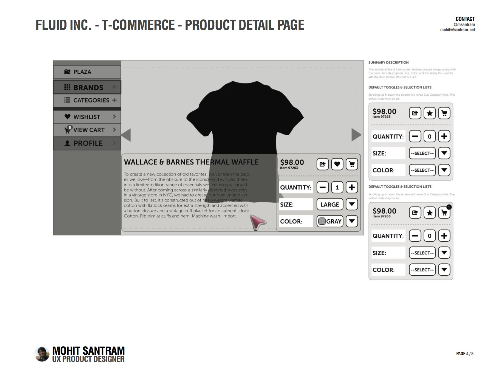 T-Commerce Product Detail Page