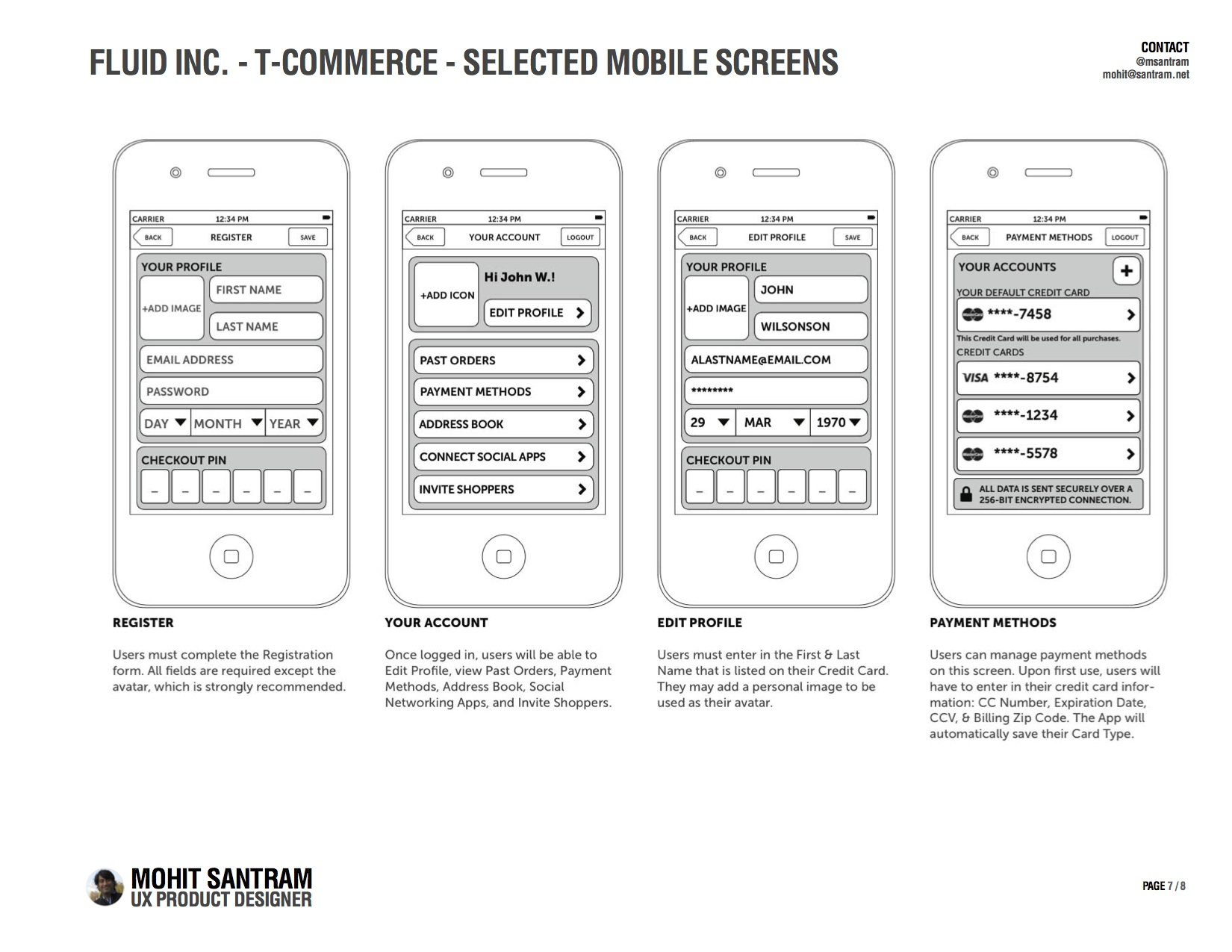 T-Commerce Selected Mobile Screens