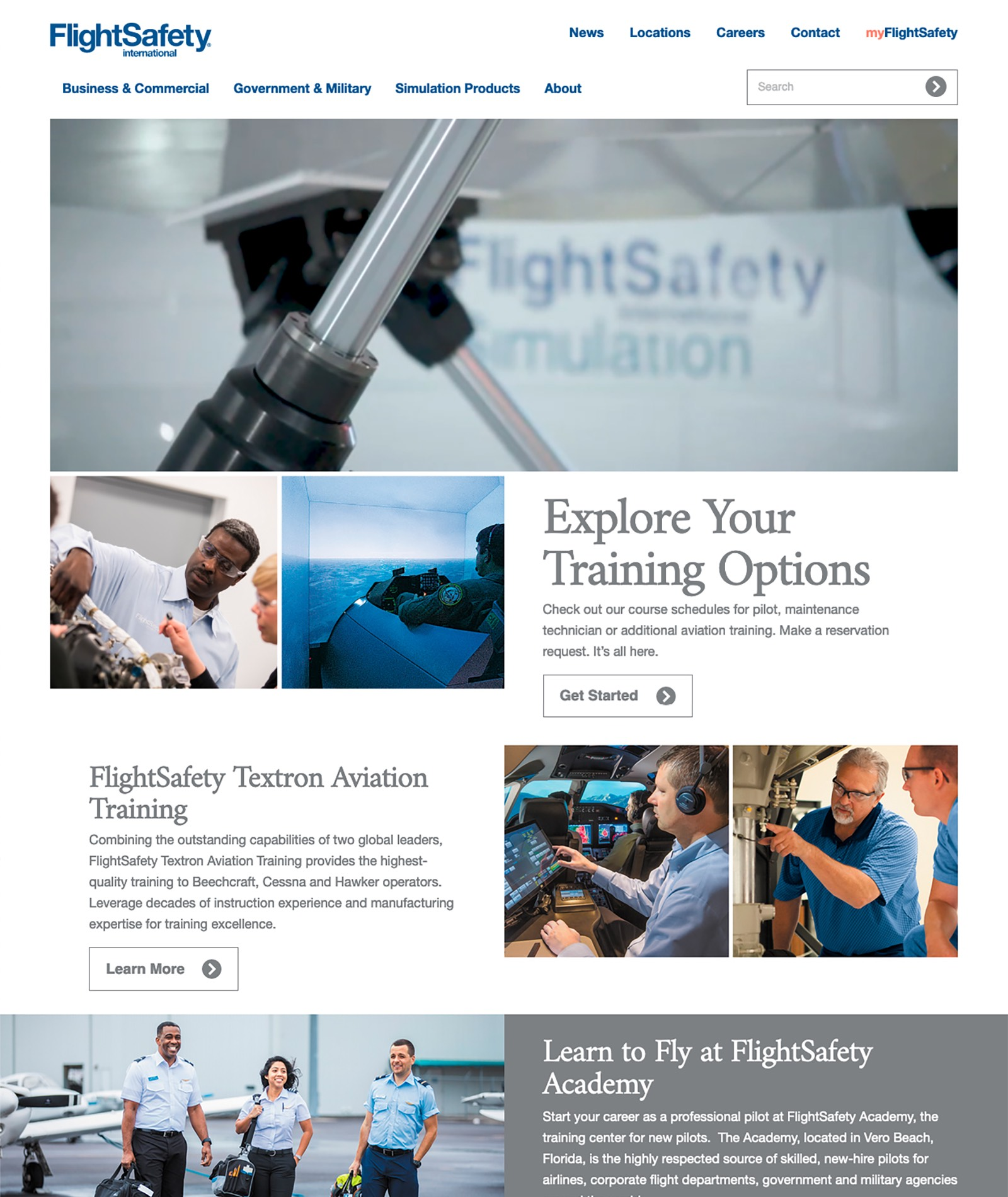 FlightSafety.com - Redesigned Homepage