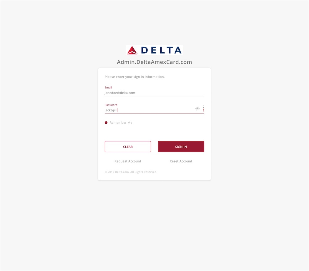 Delta Amex Card - User Sign In